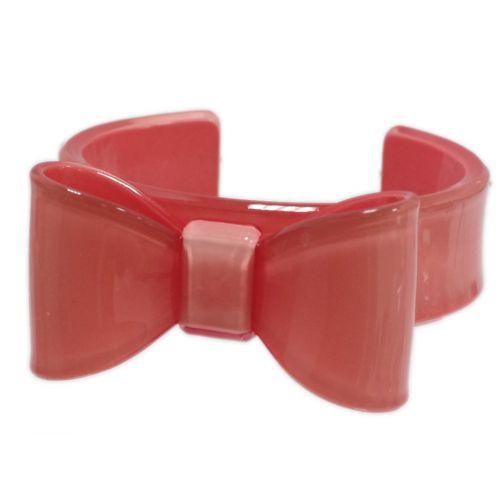 Bracelet acrylique, Noeud Papillon, BR-11 Corail - 3167-10472