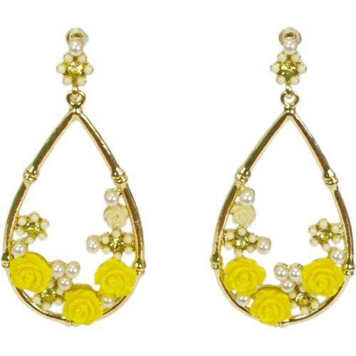 Orecchini, fiori e orecchini di perle, giallo 3233