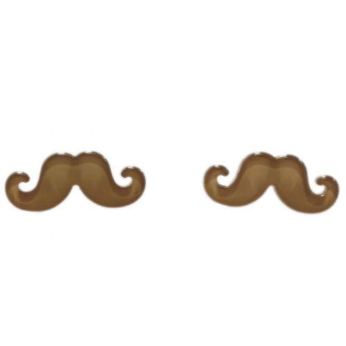 Boucles d'oreilles moustache en acrylique, 2094 taupe