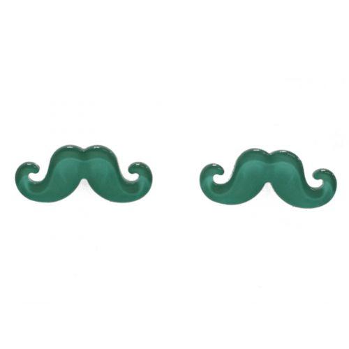 Boucles d'oreilles moustache en acrylique, 2094 vert pin