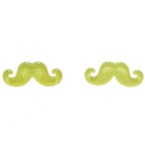 Boucles d'oreilles moustache en acrylique, 2094 jaune fluo