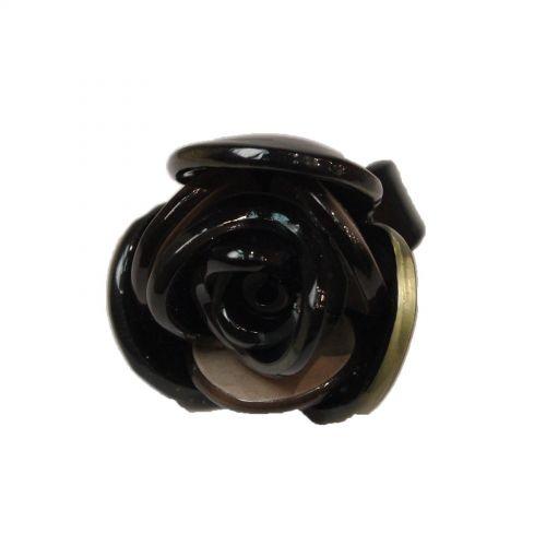 Bague fantaisie acrylique, Fleur, AOS-3 Noir - 3488-12502
