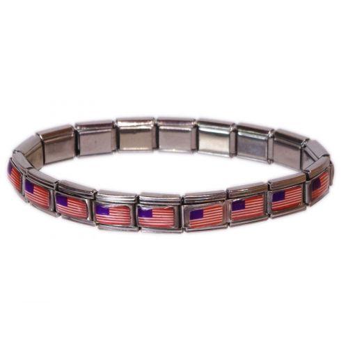 Bracelet personalibable (MOTIFS) Drapeau américain - 3636-13172