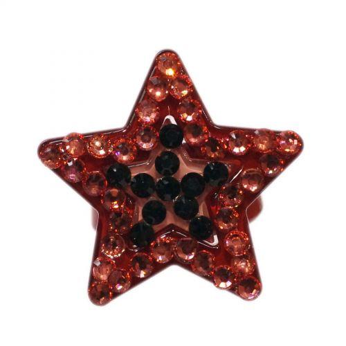 Bague fantaisie acrylique étoiles à strass AOS-3, bordeaux Bordeaux - 3368-14109