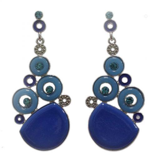Boucles d'oreilles dorés, rond et strass, 2188 Bleu