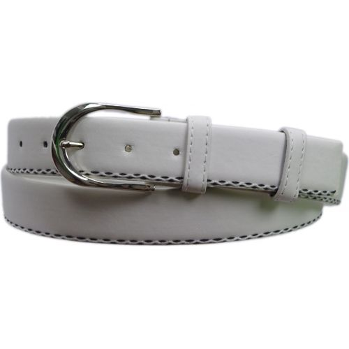 Leatherette belt 3,5 cm oval buckle, 2733 white
