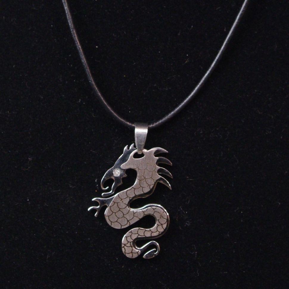 Collier en cuir pendentif dragon ARGENT Argenté - 4627-17079