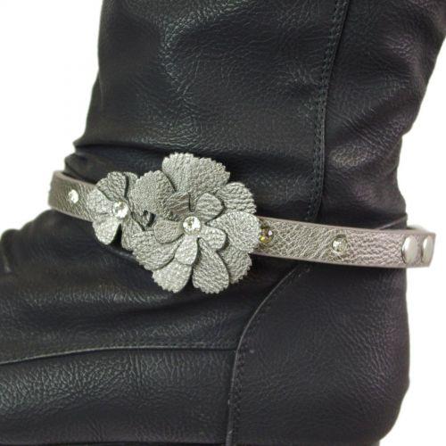 Paire de bijoux de bottes fleurs LUANA Gris - 5709-19194
