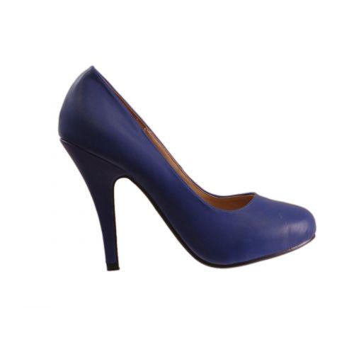Escarpin à bout rond avec 10 cm de talon, 5952 Bleu 38 - 5952-19774