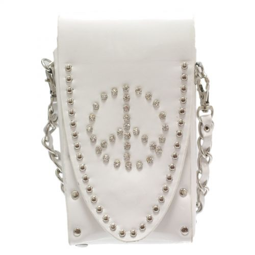 Sacs pour smartphone strass, Peace and Love, 6451 Blanc
