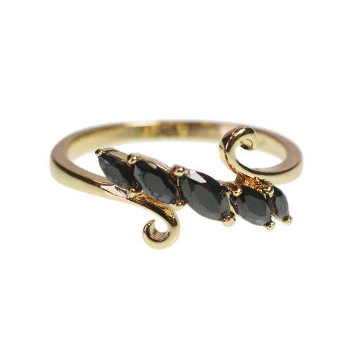 Copper Ring Zirconium Rhinestone Crystal golden with gold EVINDI