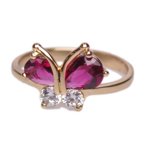 Copper Ring Butterfly Zirconium Crystal golden with gold JORY
