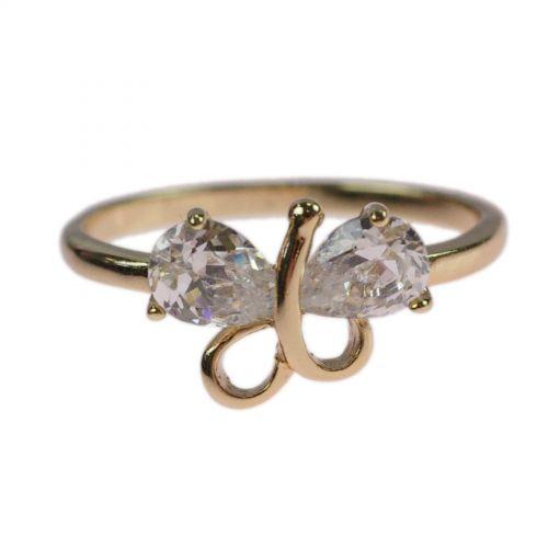 Bowtie zirconium rhinestone Copper ring golden with gold, EMME