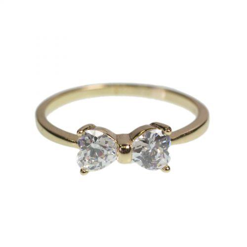 Bowtie zirconium rhinestone Copper ring golden with gold, EUDIME