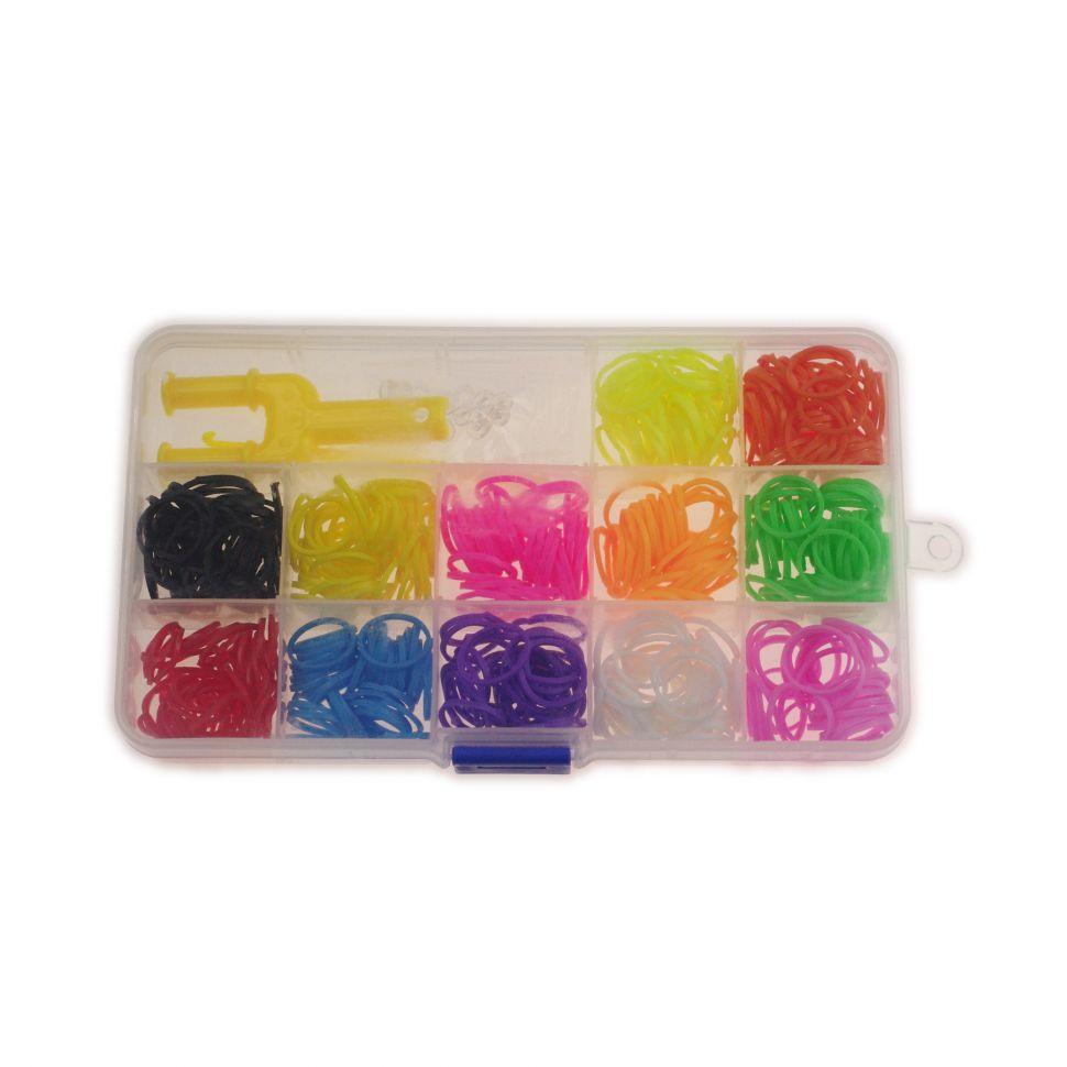 Anniversaire Kermesse - 12 x Kit de création de bracelet 300 élastique compatible Rainbow loom