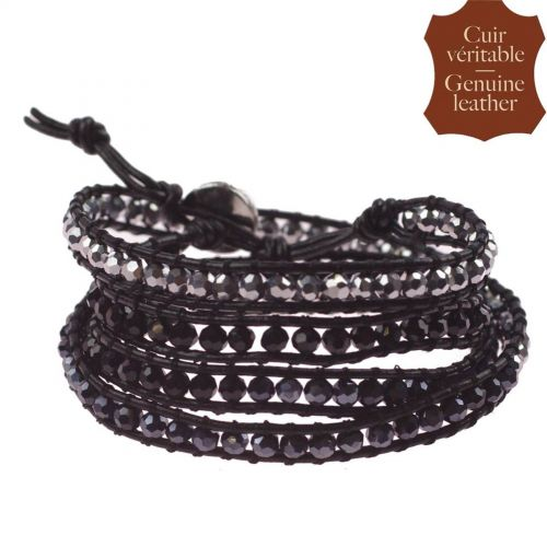 pelle braccialetto di Chan Luu e cristallo 5862