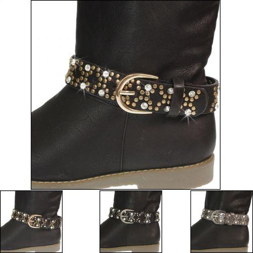 Paire de bijoux de bottes cuir Strass et rivets 9488