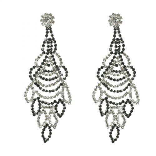 Wings strass earrings , 6348 Black