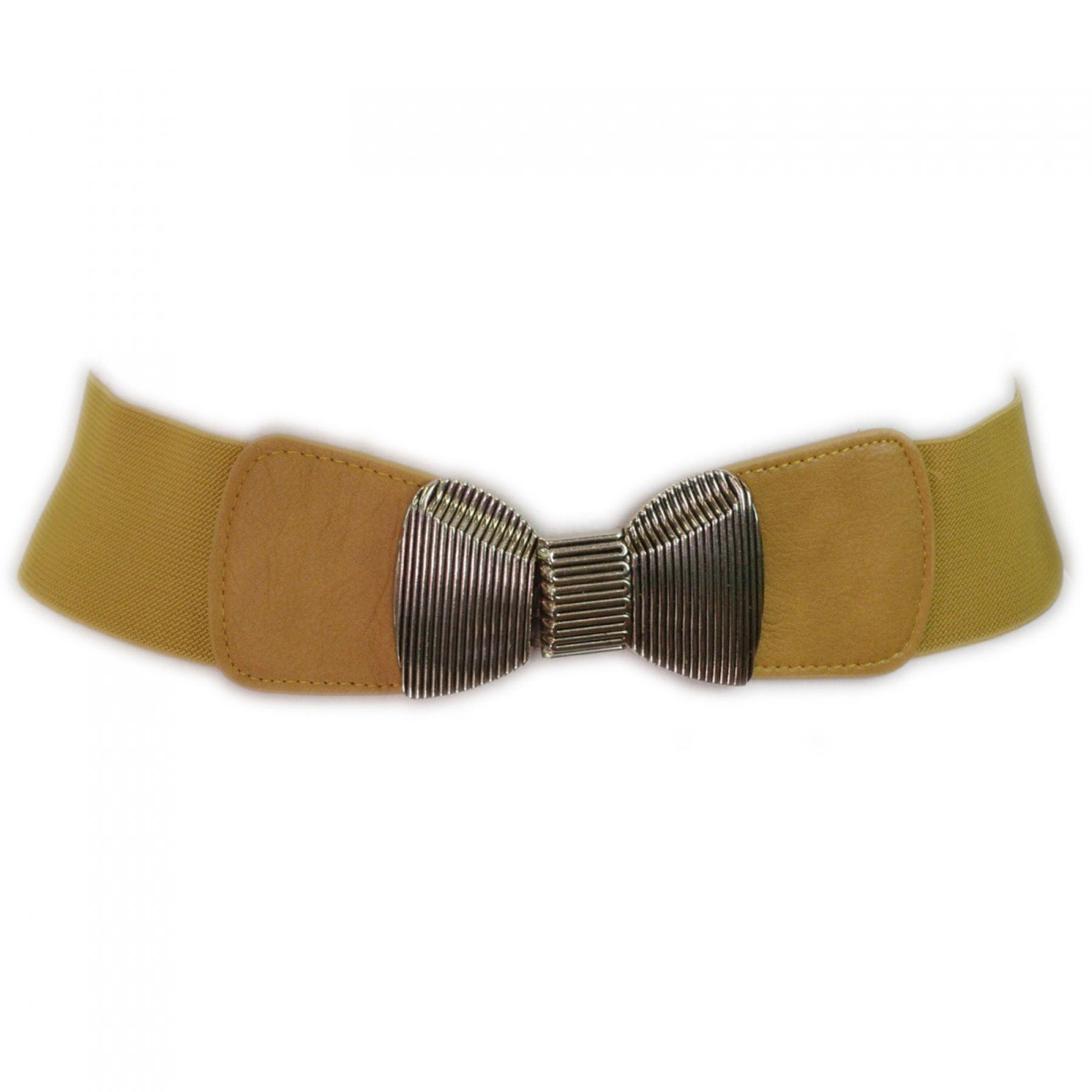 Ceinture large élastique noeud bow pour les femmes en simili cuir stretch taille élastique ceinture