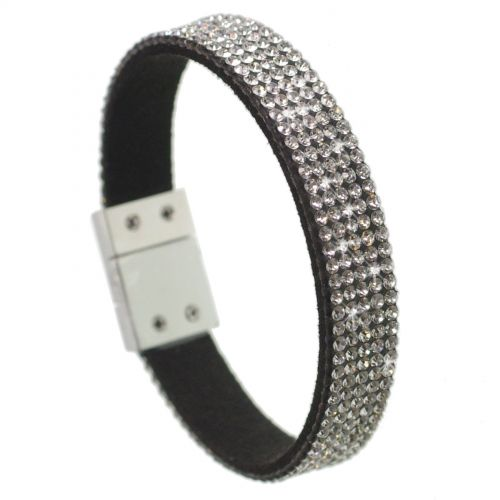Five rows rhinestones bracelet Cara Black (White) - 7001-28029