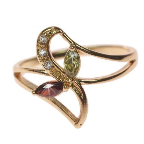 Copper Ring Rhinestone zirconium crystal golden with gold, OCEANE
