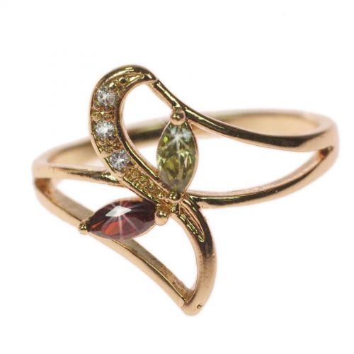 Kupferring Strass Zirconiumkristall golden mit gold OCEANE