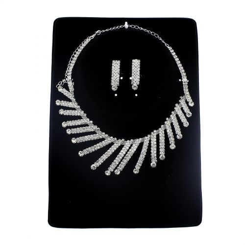 Parrure Necklace and Earrings Iliana Silver (White) - 9748-29317