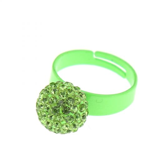 Bague aliiage strass Vert fluo - 2937-29498