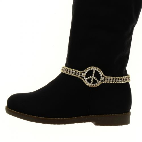 Paire de bijoux de bottes peace and love LYA Doré - 3878-30200