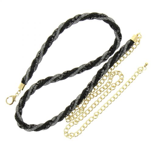 Woman's Lady Fashion Metal Chain Style Belt with Strass, NOELLA