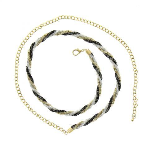 Cinturón de cadenas para mujer, Strass, ajustable, NOELLA