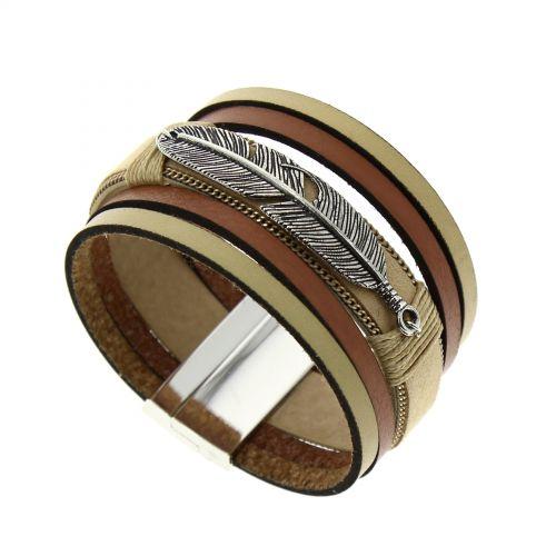 Bracelet manchette cuir Cassidy