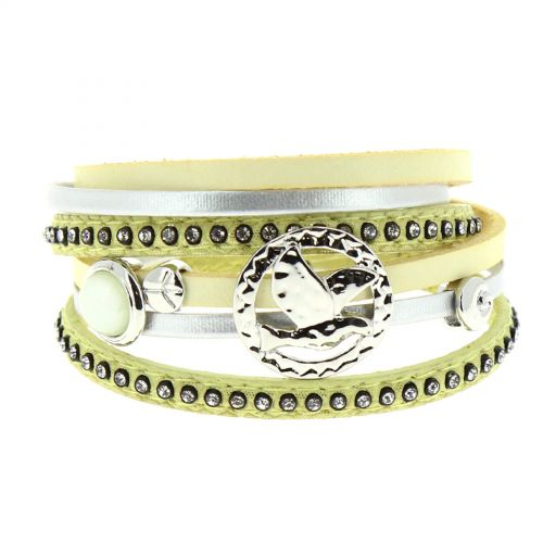 Bracelet double tour cuir peace and love Cassi
