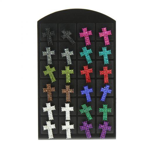 12 x paires de boucle d'oreilles croix