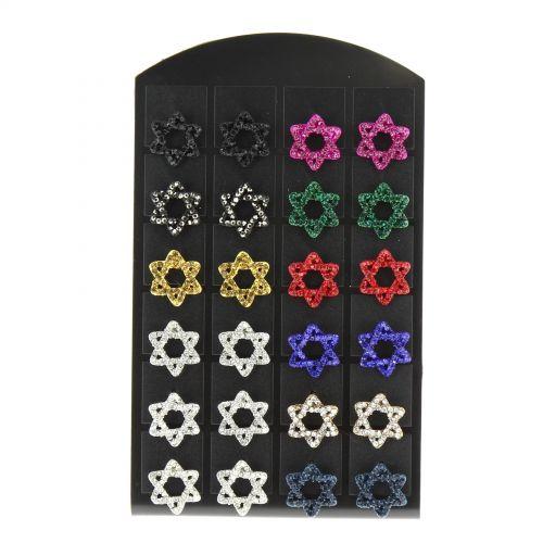 12 x paires de boucle d'oreilles sur présentoir, fleurs, B048-11 Mixed colors - 1797-30512