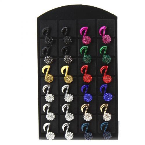 12 x paires de boucle d'oreilles sur présentoir, Peace and love et strass, B01-6 Mixed colors - 3053-30518