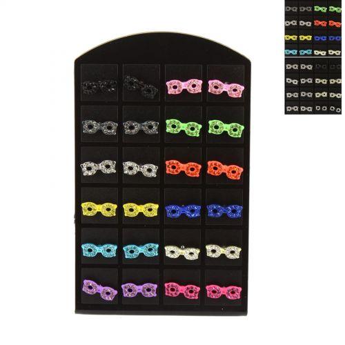 12 x paires de boucle d'oreilles sur présentoir, rondelle et strass en couleur, B01-2