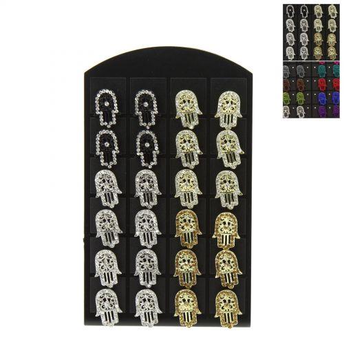 12 x paires de boucle d'oreilles sur présentoir, Main de Fatma, B01-14
