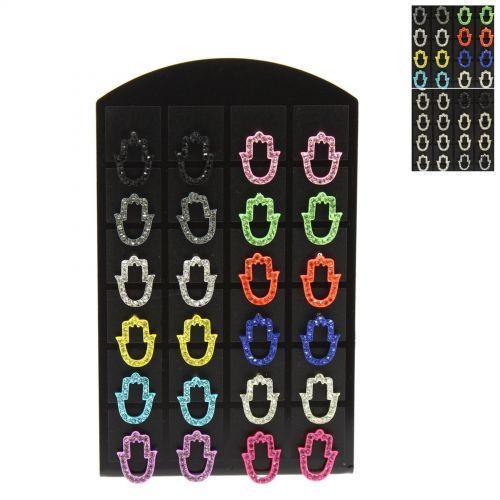 12 x paires de boucle d'oreilles sur présentoir Main de Fatima