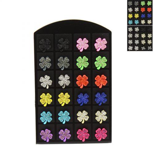 12 x paires de boucle d'oreilles sur présentoir, papillon, strass, B048-7