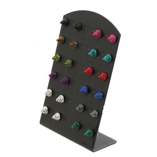 12 x paires de boucle d'oreilles tête de mort strass, noir bleu cyan Mixed colors - 3619-30628