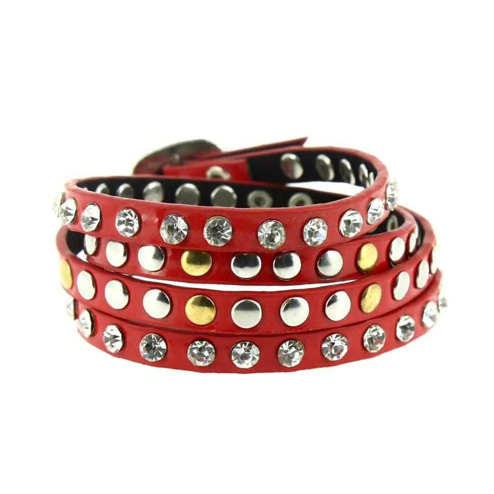 Bracelet wrap clouté strass Yomma Rouge - 9838-30790