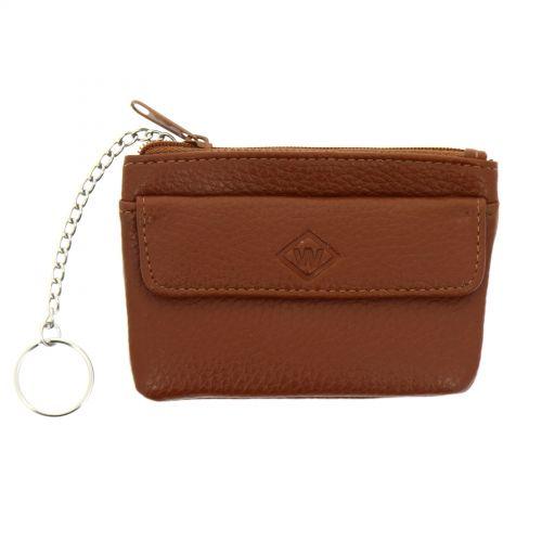 Porte monnaies à zip en cuir pour homme et femme, KELIANNE