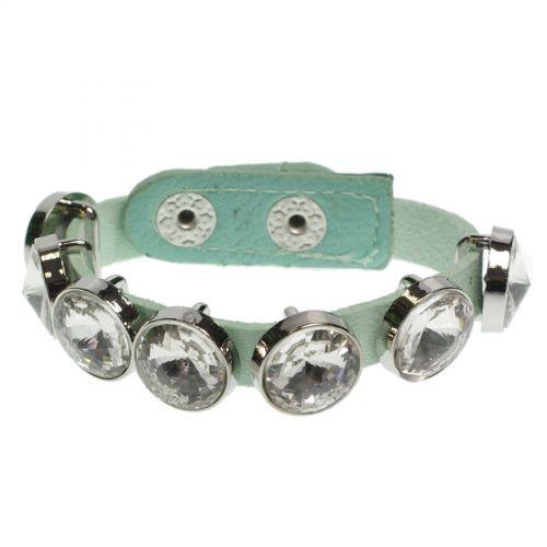 Bracelet similicuir strass 8052 Vert Opaline - 8052-31062