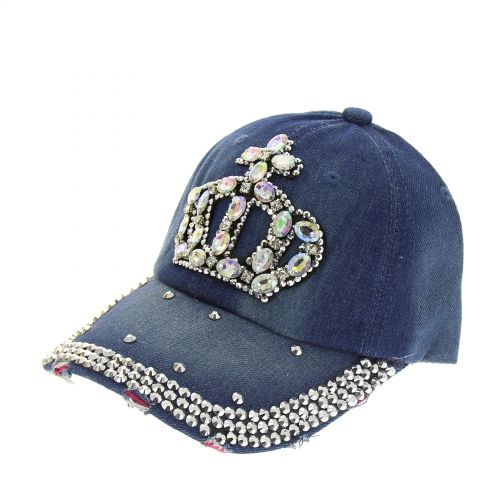 Casquette denim Crown à strass Georgia Bleu denim - 8115-31496