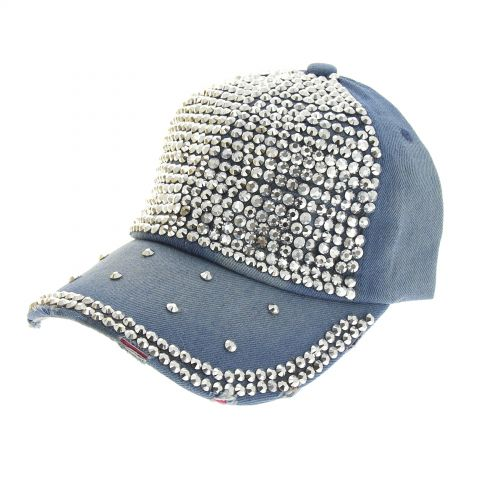 STELLIE denim strass cap hat Faded blue - 7019-31515