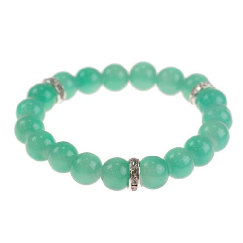 Bracelet extensible à perles de verre MARTA Vert Opaline - 9029-31724
