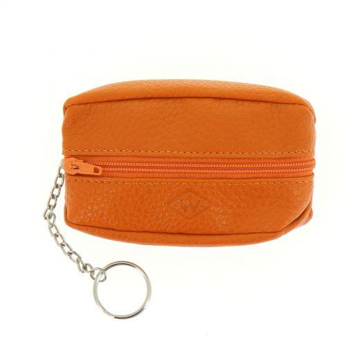 Porte monnaies à zip en cuir CALYSTA Orange - 9839-31797