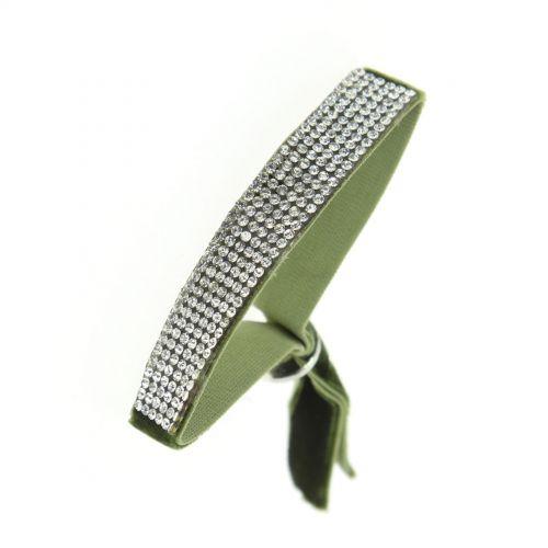 Bracelet strass élastique, 6676 Vert - 6676-32285