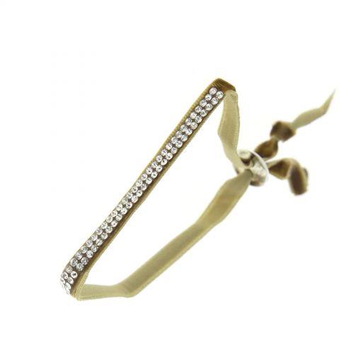 Bracelet ruban velour 2 rangées de strass